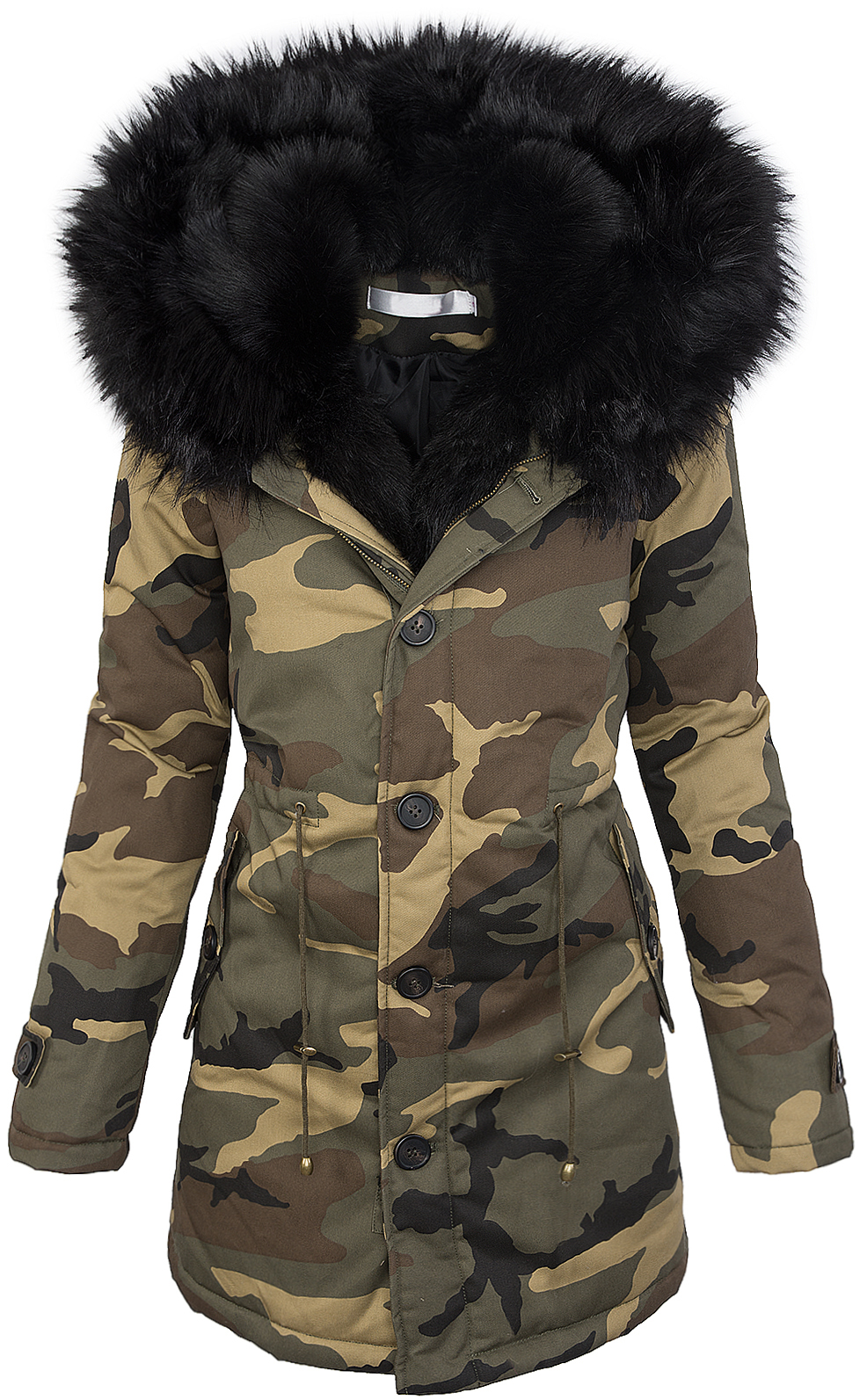 damen winter parka jacke army look damenjacke kunstfell. Black Bedroom Furniture Sets. Home Design Ideas