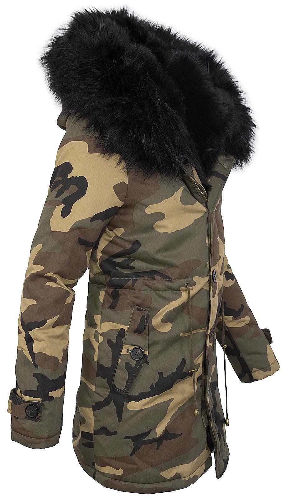 damen winter parka jacke army look damenjacke kunstfell. Black Bedroom Furniture Sets. Home Design Ideas
