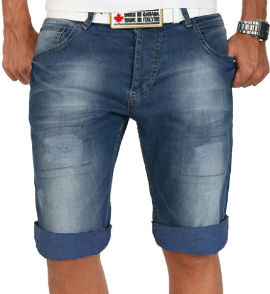 rock creek herren shorts bermuda jeans kariert blau. Black Bedroom Furniture Sets. Home Design Ideas