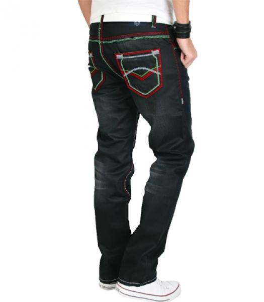 rock creek herren designer denim jeans hose schwarz dicke. Black Bedroom Furniture Sets. Home Design Ideas