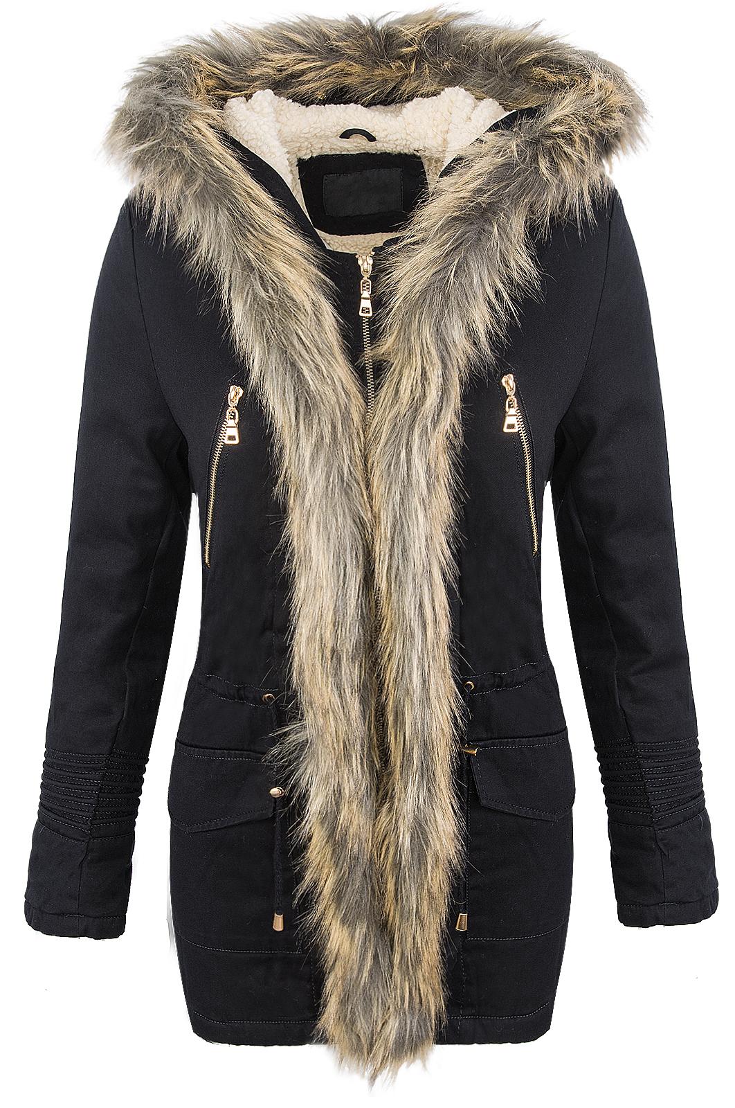 femmes hiver veste parka manteau d 39 hiver fourrure artificielle capuche noir d 71 ebay