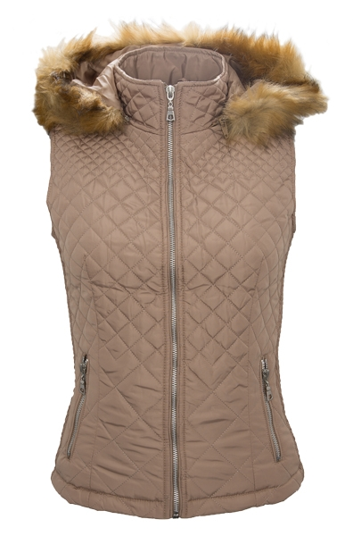 ladies vest quilted women 39 s jacket with hoodie fur artificial gilet d51 s xl ebay. Black Bedroom Furniture Sets. Home Design Ideas