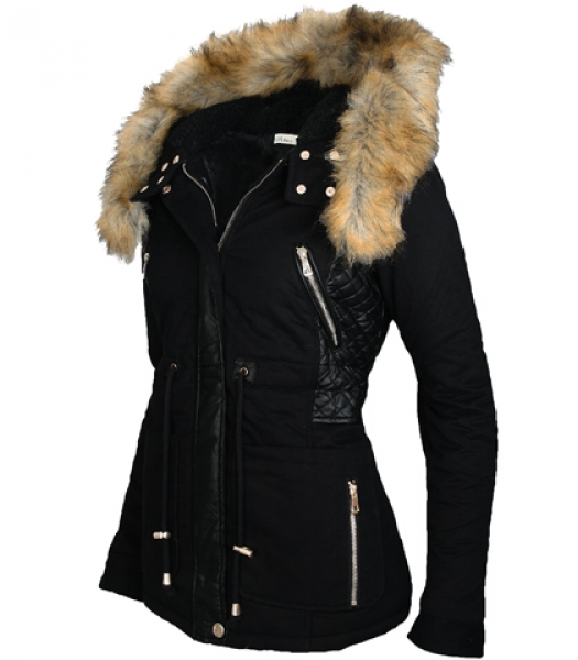 damen winter jacke parka teddyfell gef ttert fell kapuze. Black Bedroom Furniture Sets. Home Design Ideas