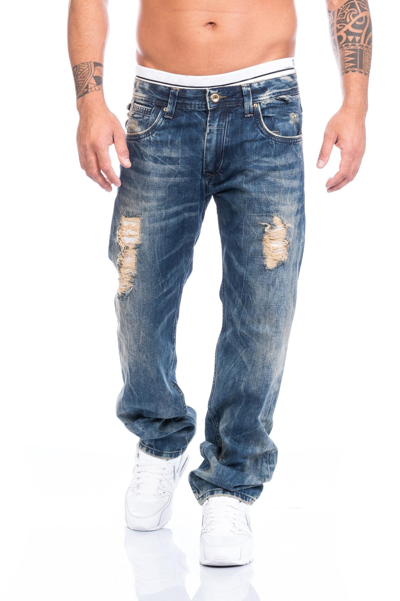 lorenzo loren herren jeans hose denim used look waschung. Black Bedroom Furniture Sets. Home Design Ideas