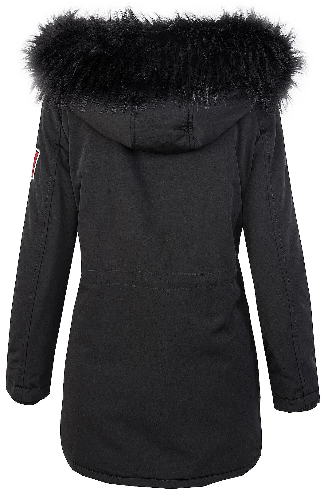 Damen Winterjacke Outdoor Jacke Schwarz Kunstfell-Kragen Mantel Damenjacke D-346