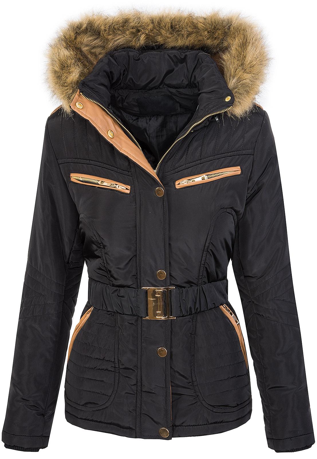 DAMEN STEPPJACKE PARKA Jacke mit Gürtel Warm Mantel Versch