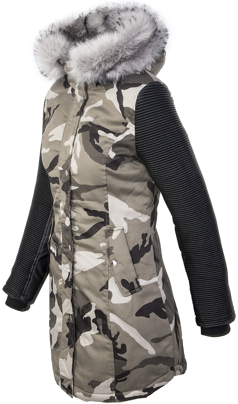 damen camouflage jacke winterjacke parka kunstleder rmel bikerjacke s xl d 349 ebay. Black Bedroom Furniture Sets. Home Design Ideas