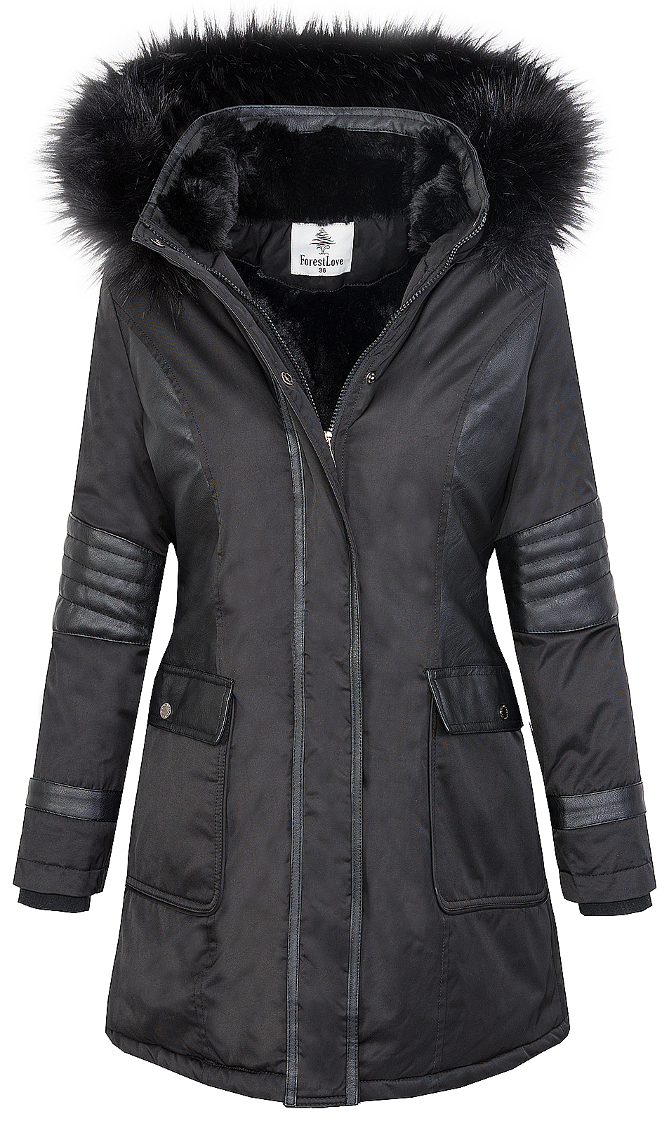 damen jacke outdoor jacke mantel parka winterjacke schwarz. Black Bedroom Furniture Sets. Home Design Ideas