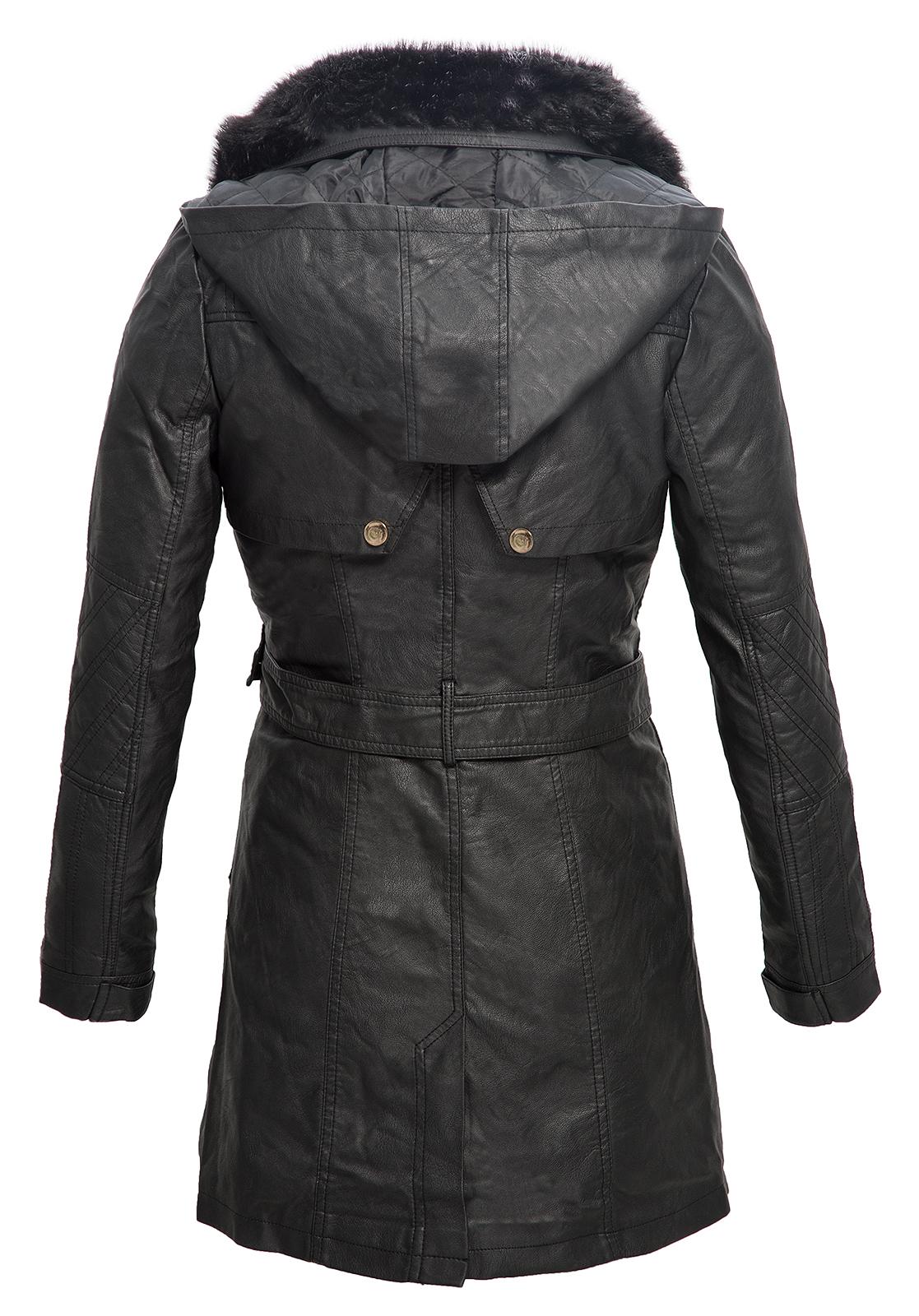 Details about Ladies Faux Leather Coat Hooded Ladies Jacket Leather Jacket Black Long d73d57 show original title