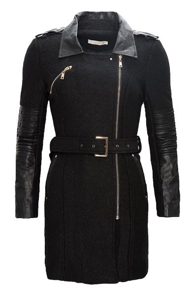 eleganter damen mantel wintermantel damenjacke schwarz. Black Bedroom Furniture Sets. Home Design Ideas
