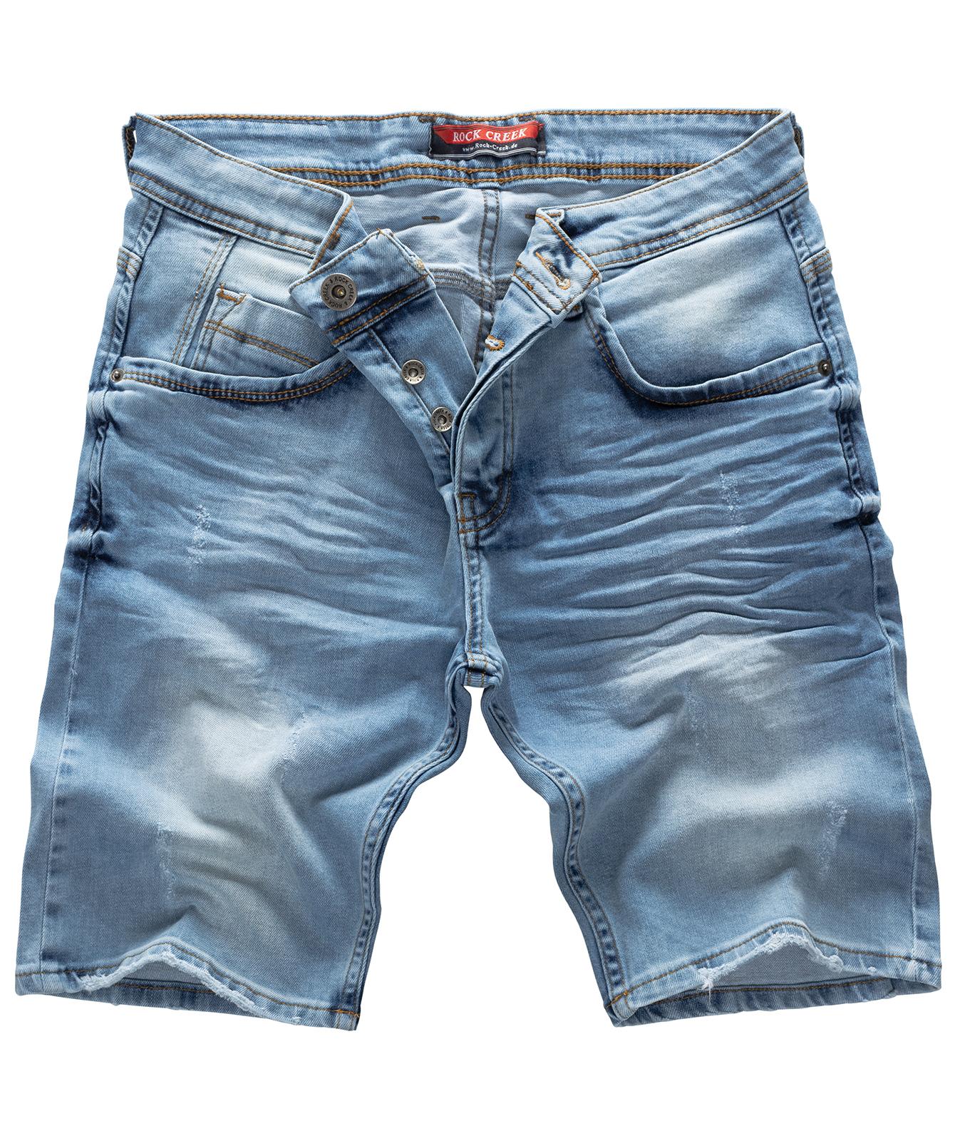Detalles de Rock Creek Pantalones Cortos Hombre Vaqueros Denim Stretch Verano W29 W40 M23